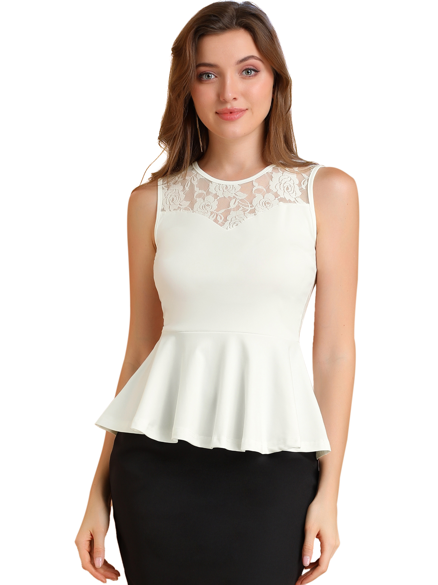 Women Semi-Sheer Lace-Paneled Yoke Sleeveless Peplum Tops White XL
