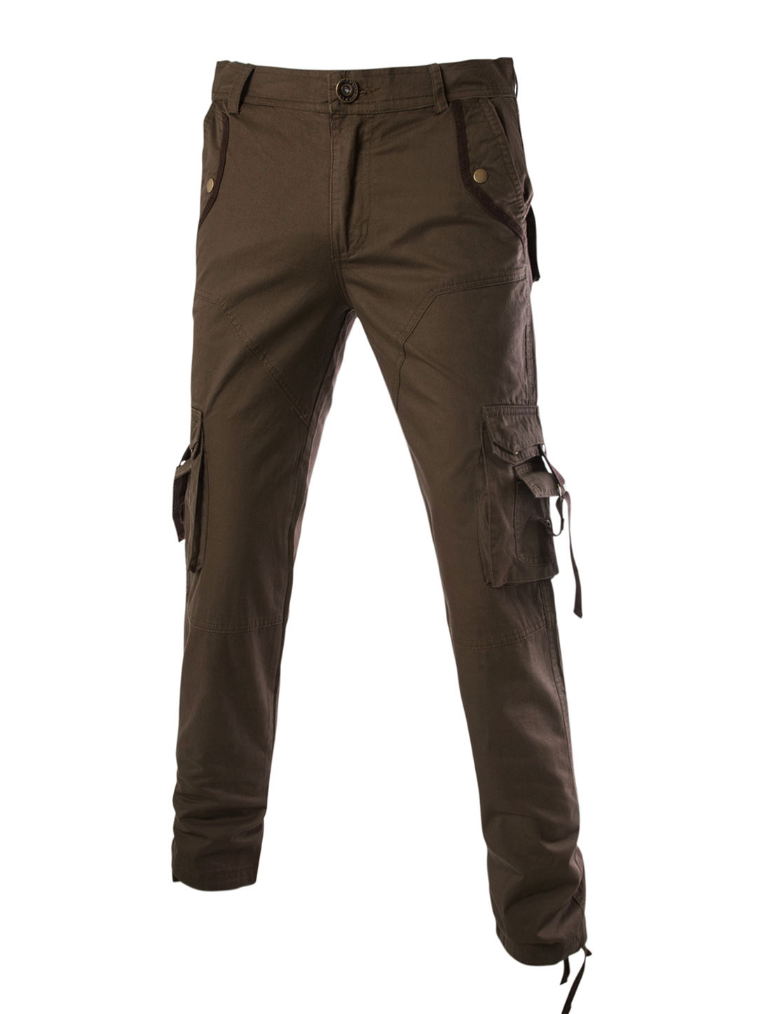 Men Pockets Work Wear Military Style Casual Cargo Trousers Khaki W34
