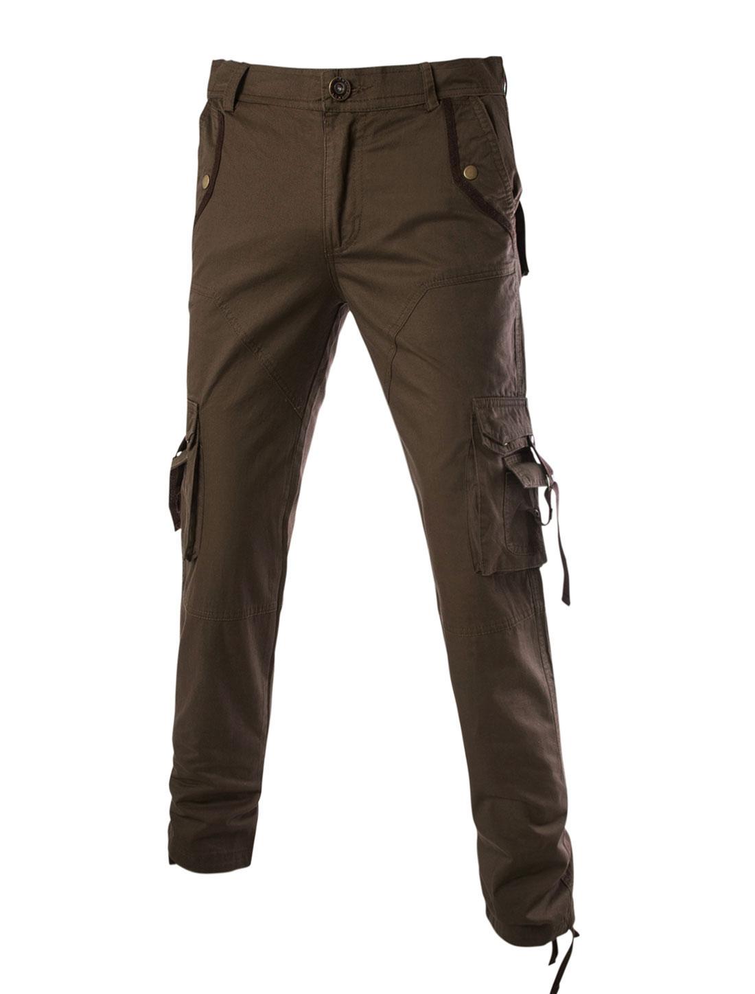 Men Mid Rise Twill Military Cotton Wide Leg Cargo Trousers Khaki W36