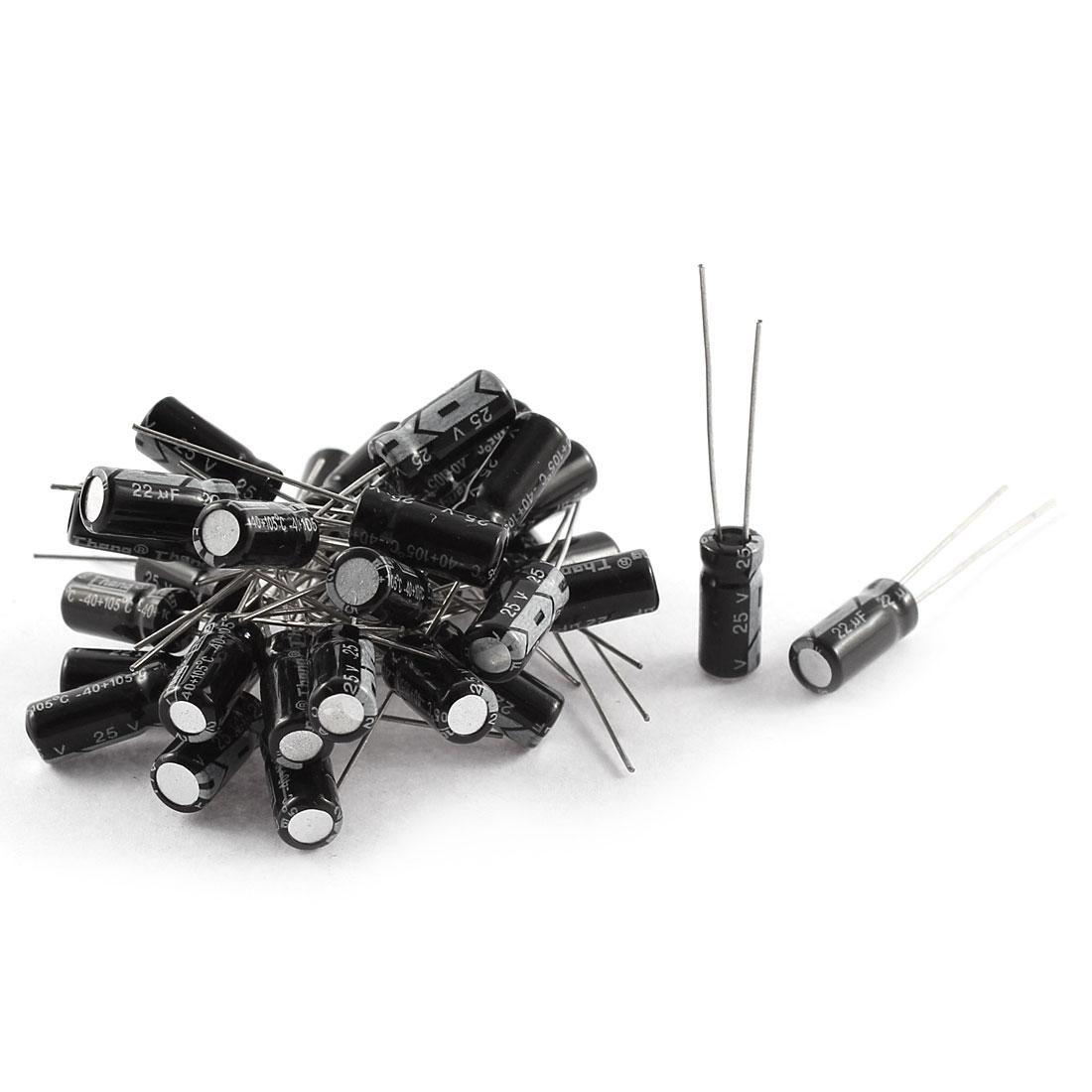 30Pcs 25V 22uF 105C Radial Lead Electrolytic Capacitor 5mm x 11mm