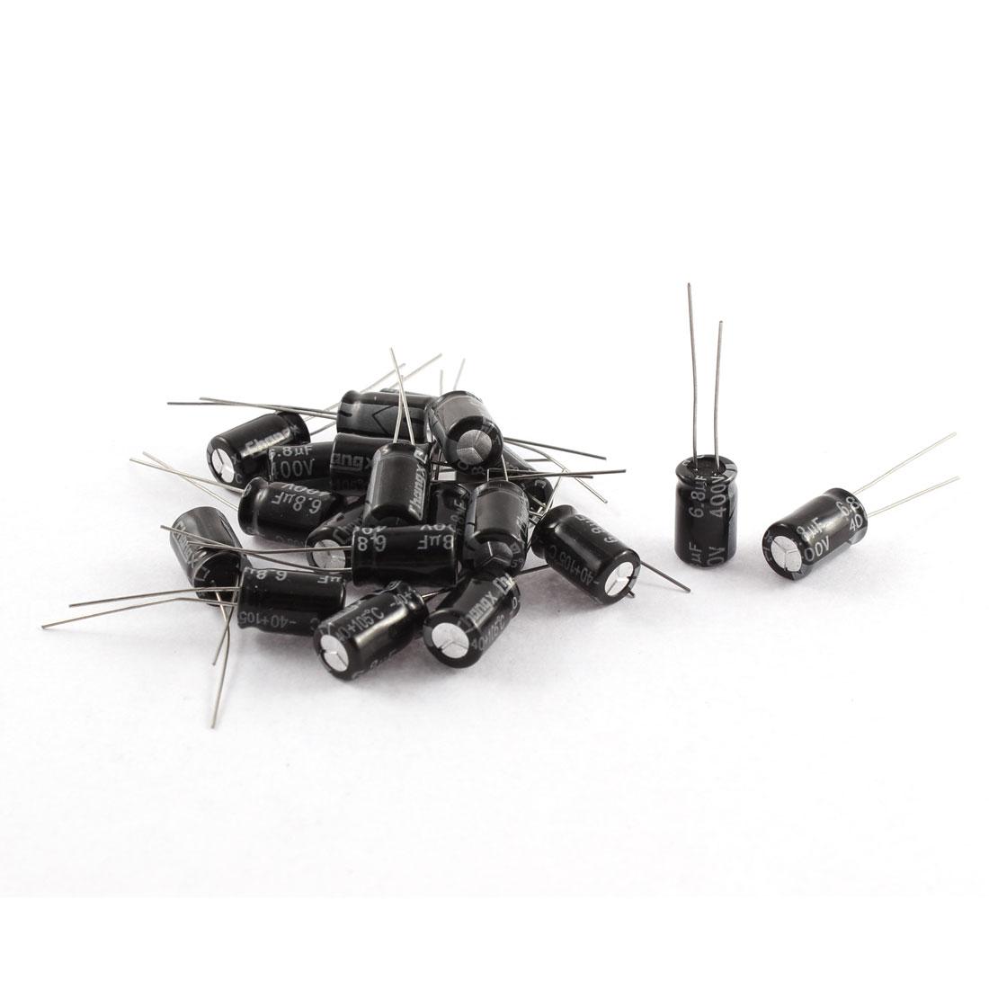 20Pcs 400V 6.8uF 105C Radial Lead Electrolytic Capacitor 8mm x 12mm