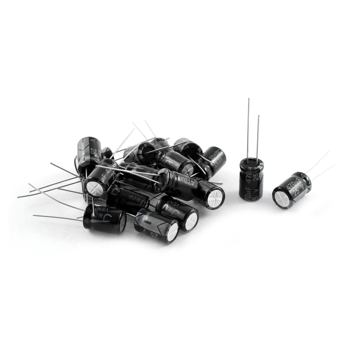 20Pcs 25V 470uF 105C Radial Lead Electrolytic Capacitor 8mm x 12mm