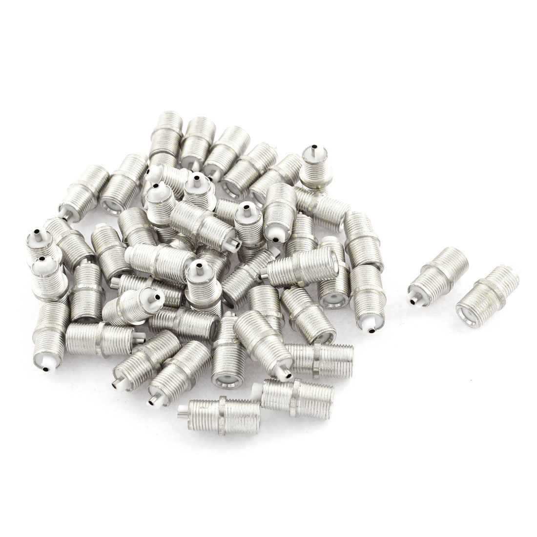 50Pcs F-Type Female to Female RF Coaxial TV Adapter Connector Silver Tone