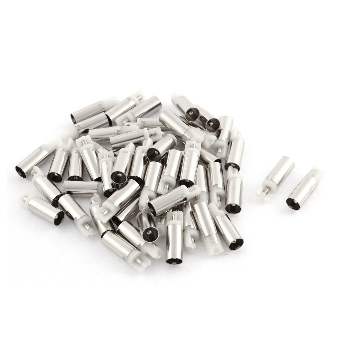 50Pcs 5.5mm x 2.1mm Female DC Power Jack Solder Connector Silver Tone