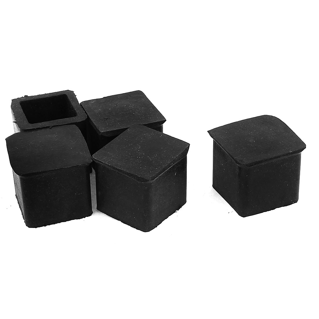 Rubber Furniture Leg Chair Feet Protection Pad 20mmx20mm 5Pcs Black