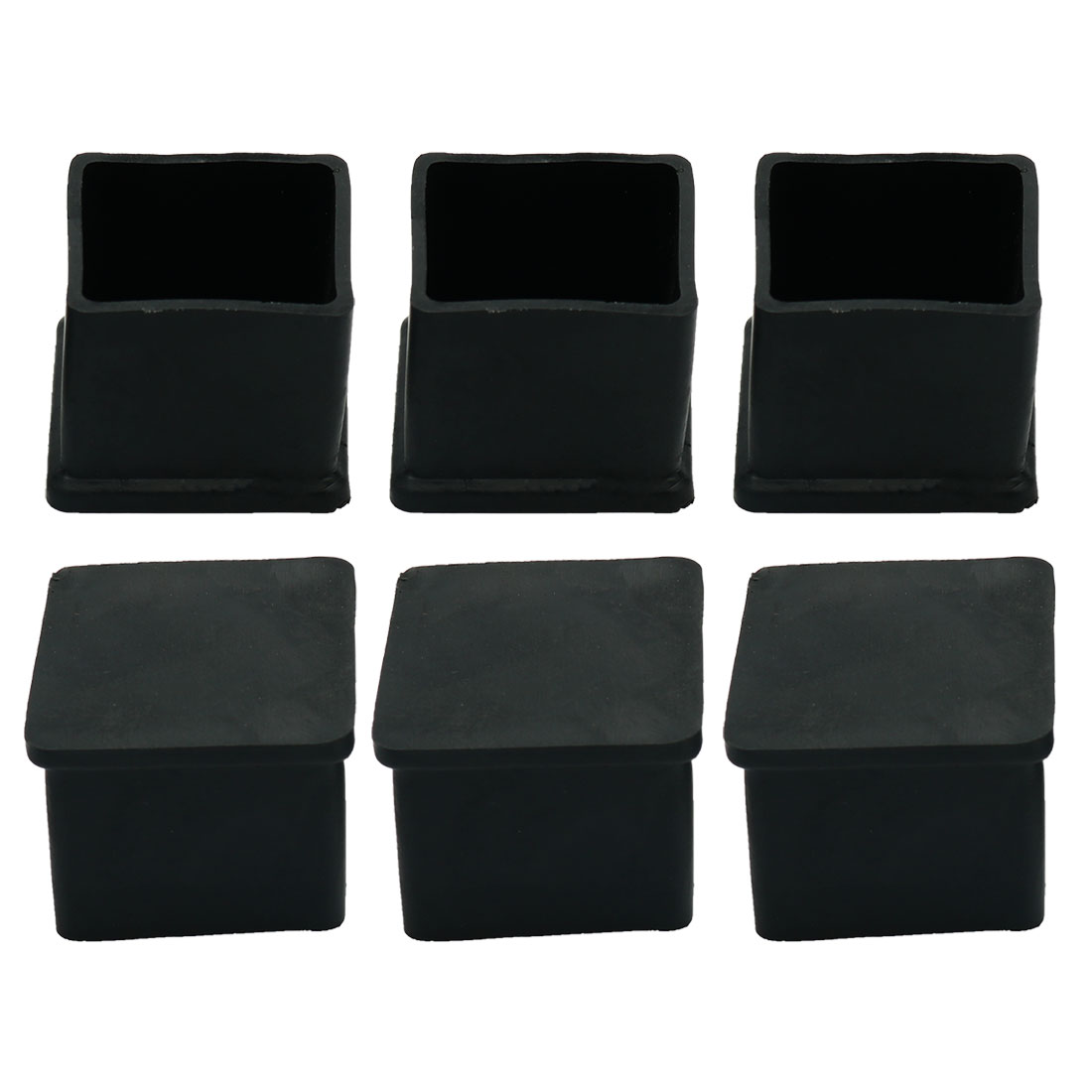 Rubber Furniture Leg Chair Feet Protection Pad 25mmx25mm 6Pcs Black