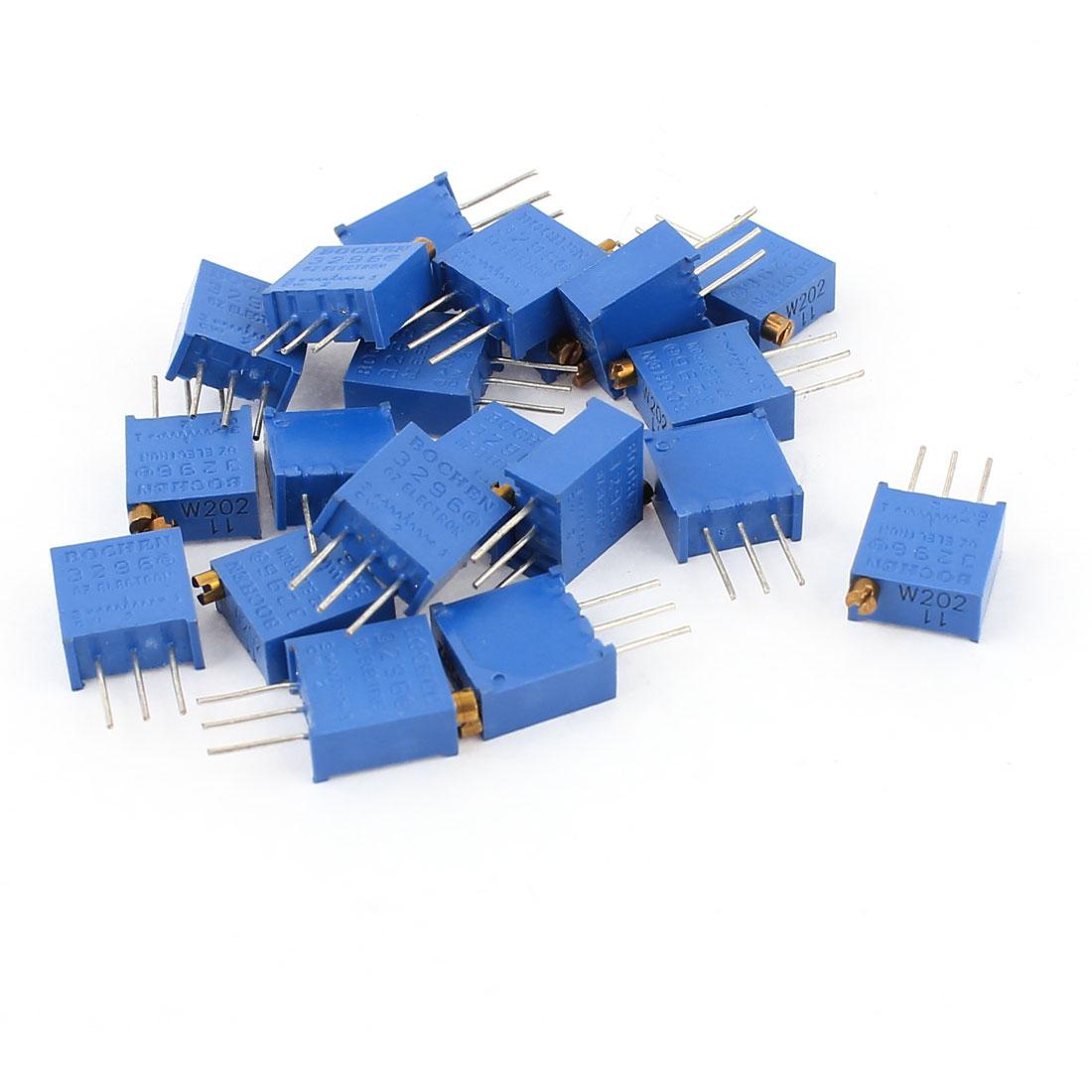 20Pcs 20K Ohm 3296W-202 Resistor Trim Pot Potentiometer Trimmer Blue