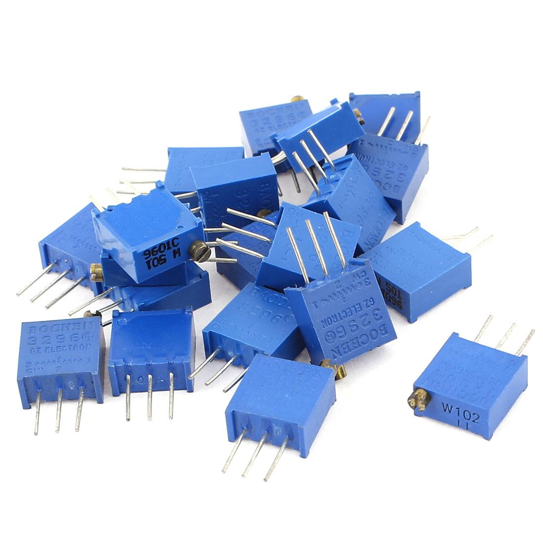 20Pcs 3296W-501 3296W-102 Resistor Trim Pot Potentiometer Trimmer