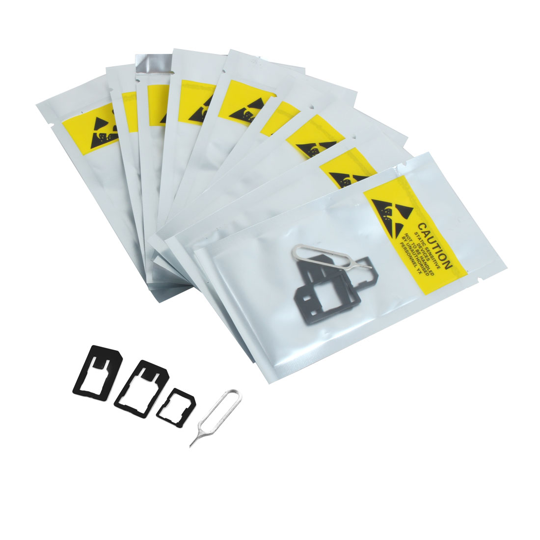 10Set 4 in 1 Micro SIM Card Adapters Converter to Standard for Cell Phone