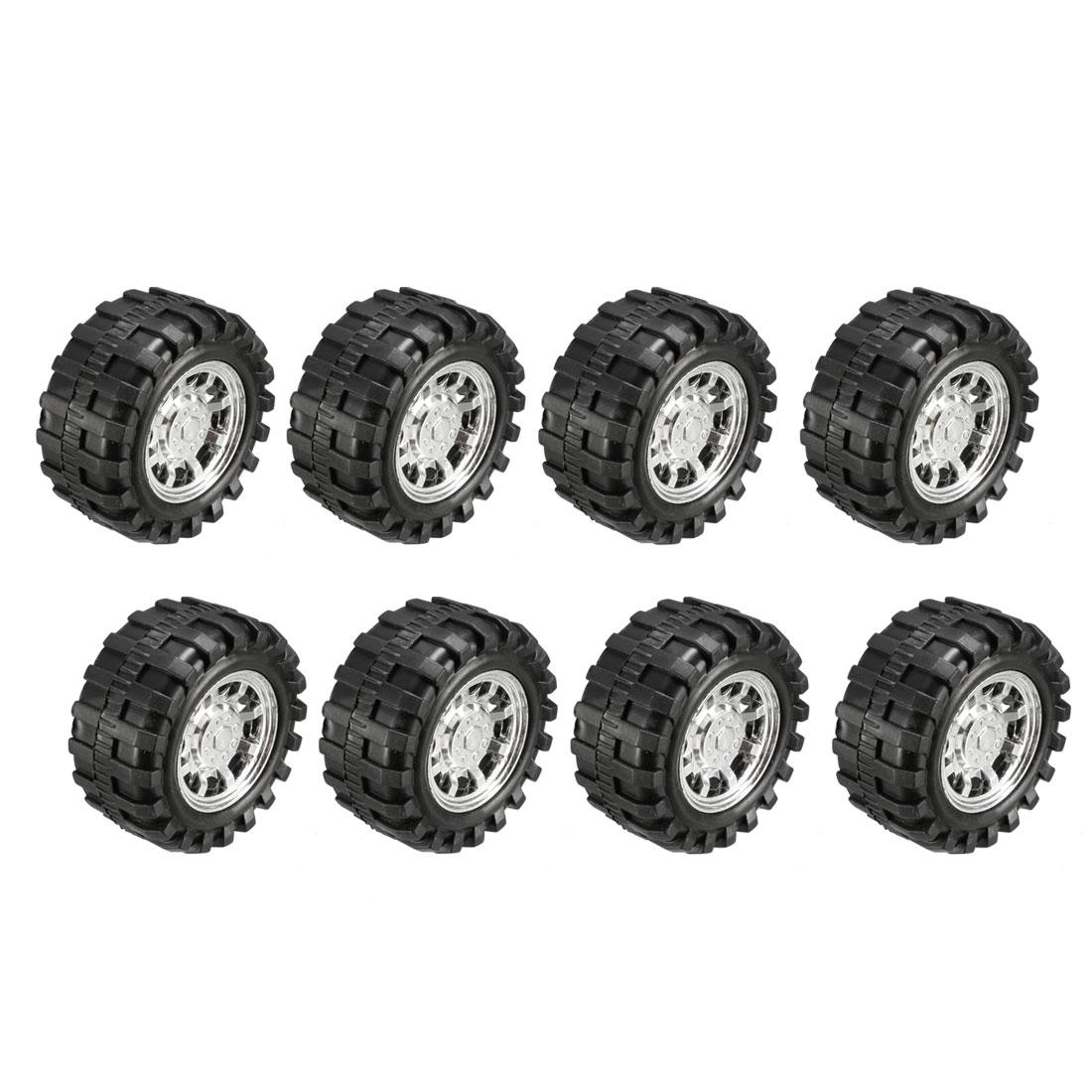 Plastic Roll 2.5mm Dia Shaft Car Truck Model Toys Wheel 55mmx20mm 8Pcs