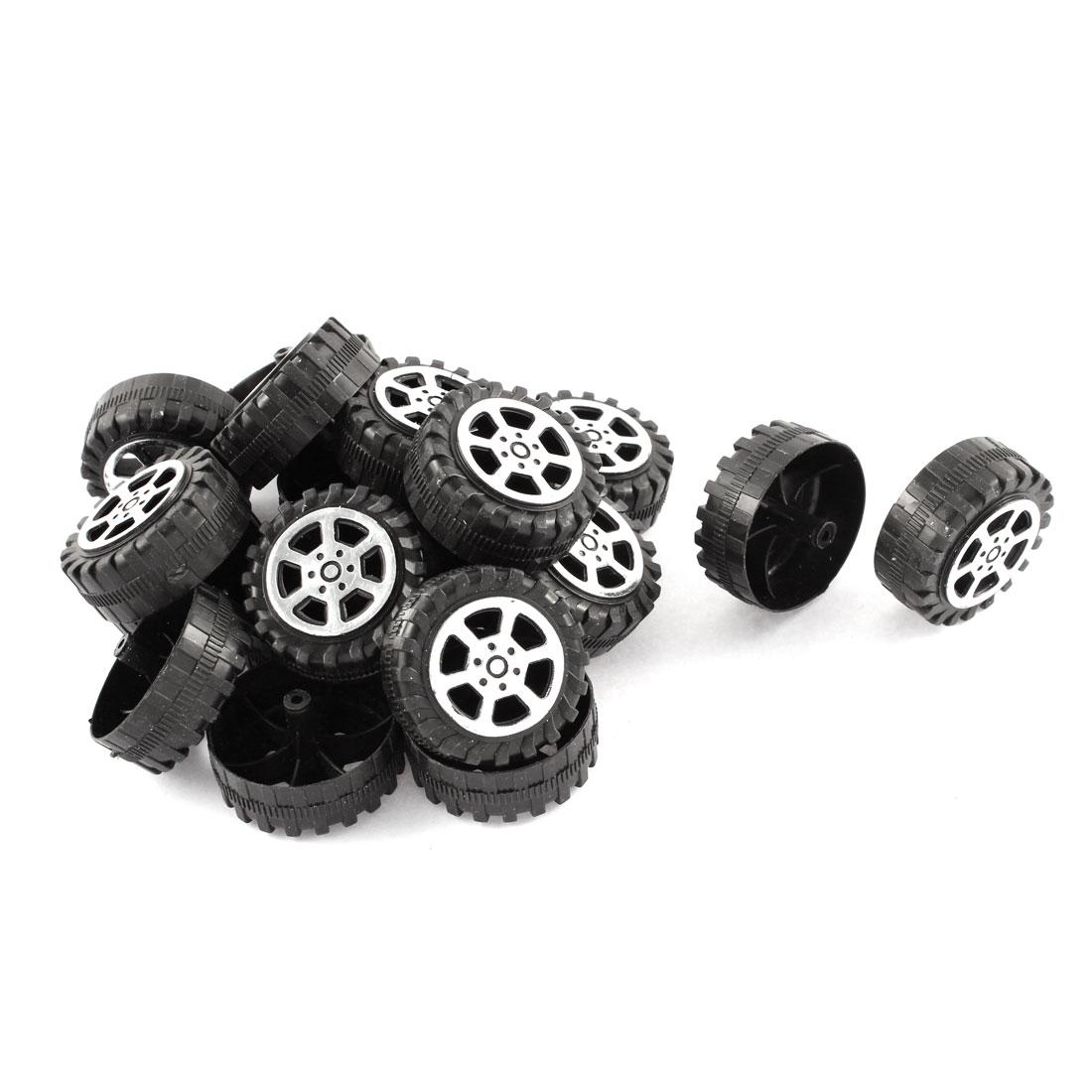 Plastic Roll 2mm Dia Shaft Car Truck Model Toys Wheel 38mmx15mm 20Pcs