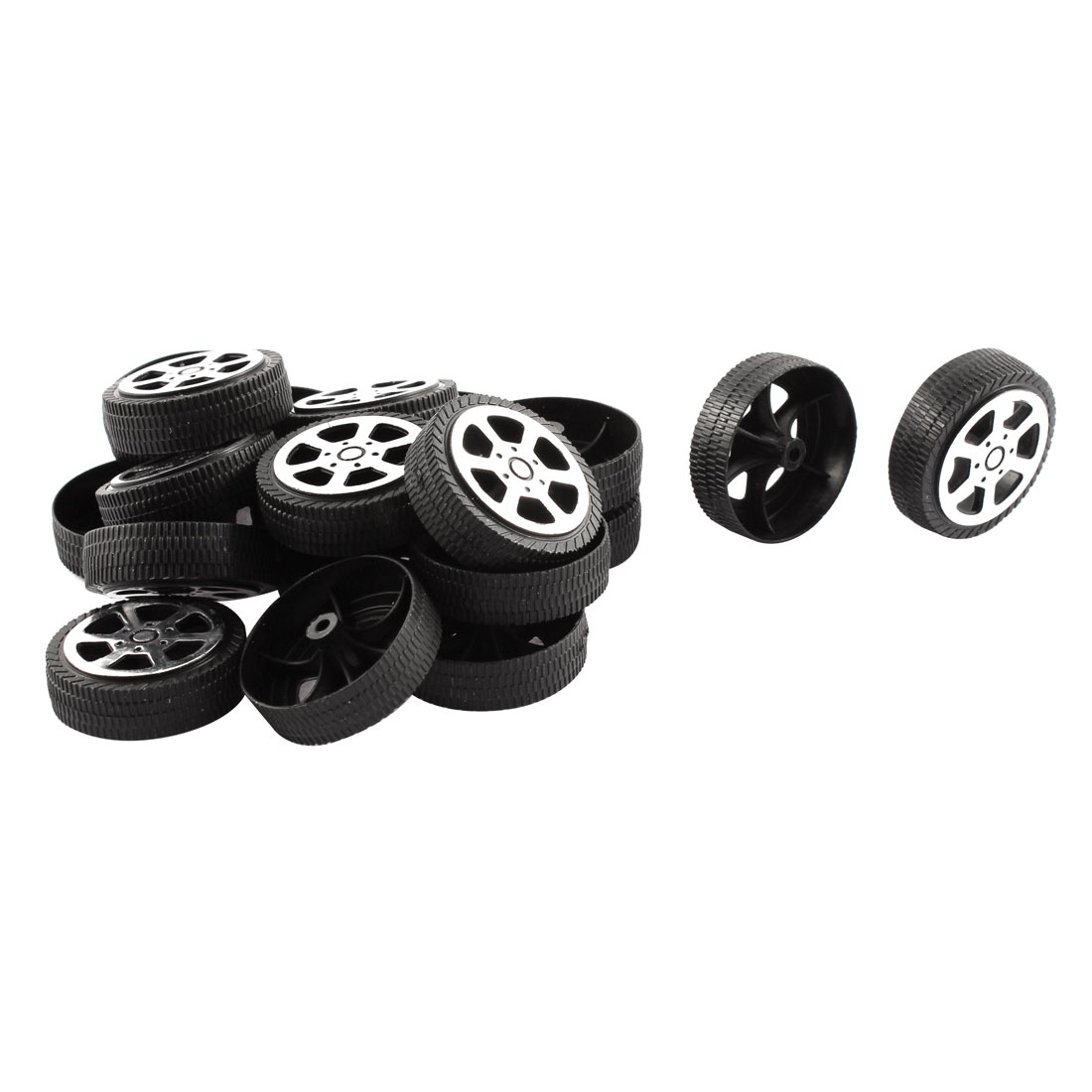 Plastic Roll 2mm Dia Shaft Car Truck Model Toys Wheel 30mmx9mm 20Pcs