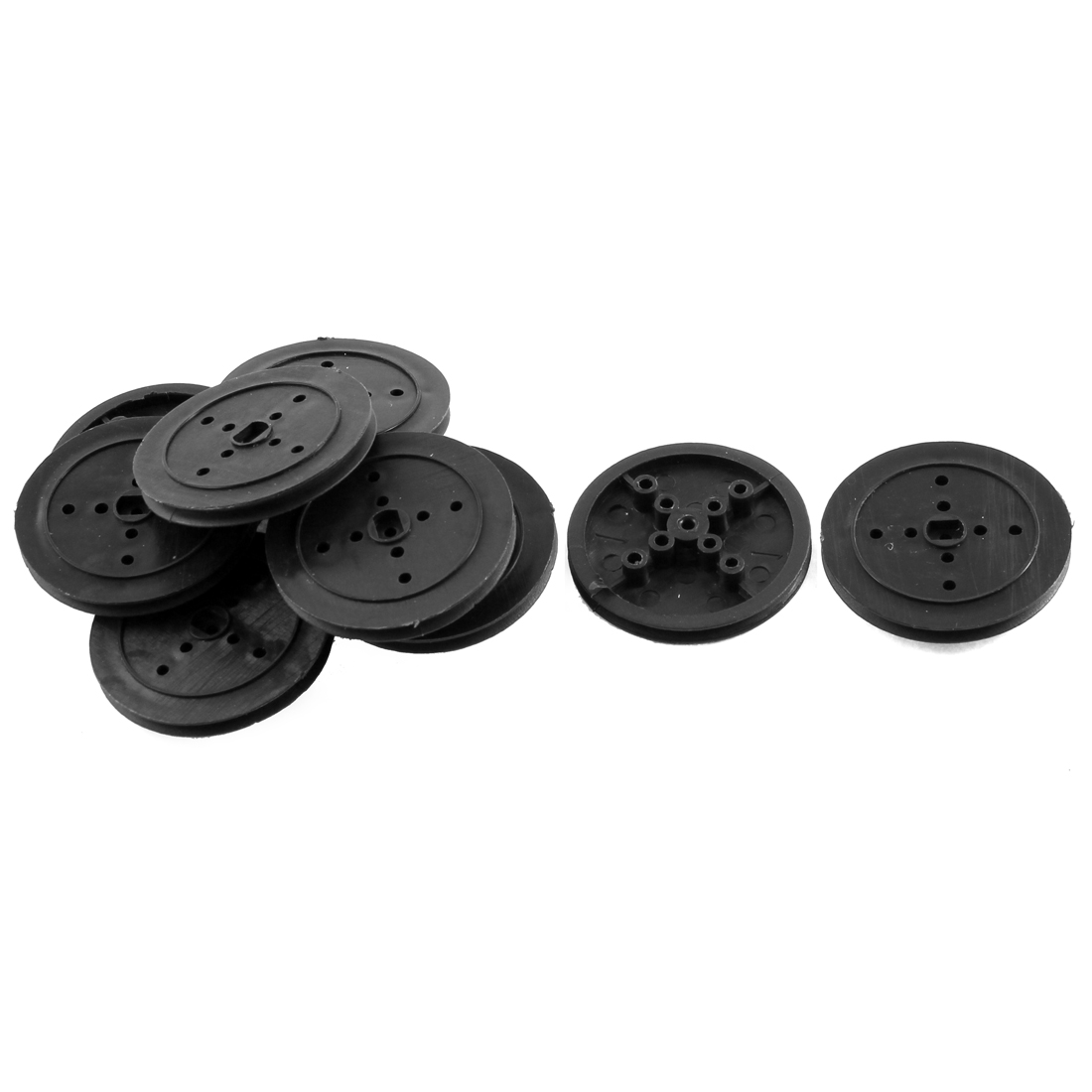 10Pcs Black Plastic 36mm Diameter 3mm Thickness Rubber Band Pulley