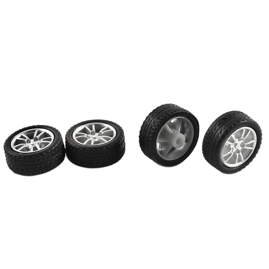 Rubber Roll 2mm Dia Shaft Car Truck Model Toys Wheel 16mmx5mm 4Pcs