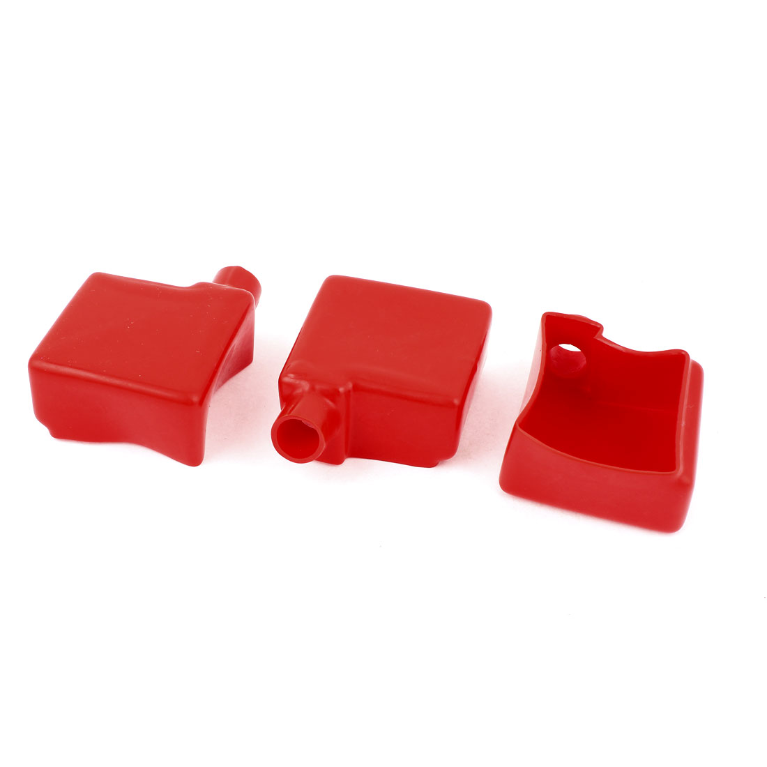 3Pcs Auto Car Battery Terminal Cover Insulation Boot Red 50mmx50mm