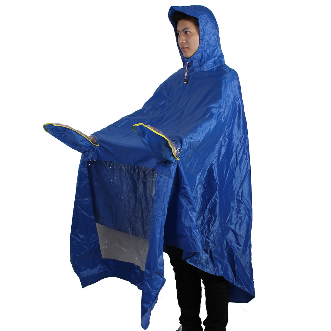 Water Resistant One Person Raincoat Poncho Coat Suit Blue for Motorcycle Bike