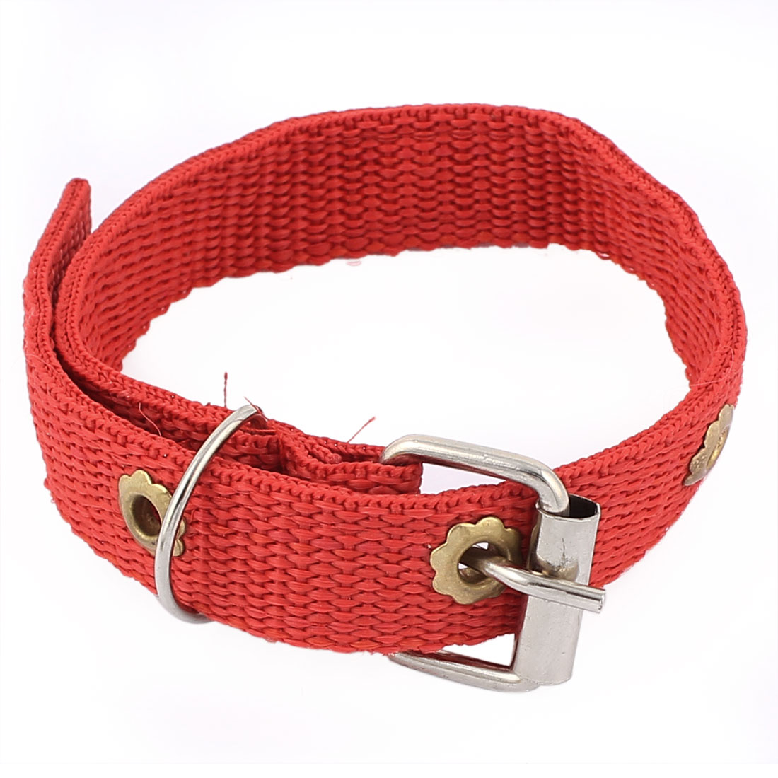 Single Pin Buckle Pet Dog Adjustable Collar Red 32cm Length