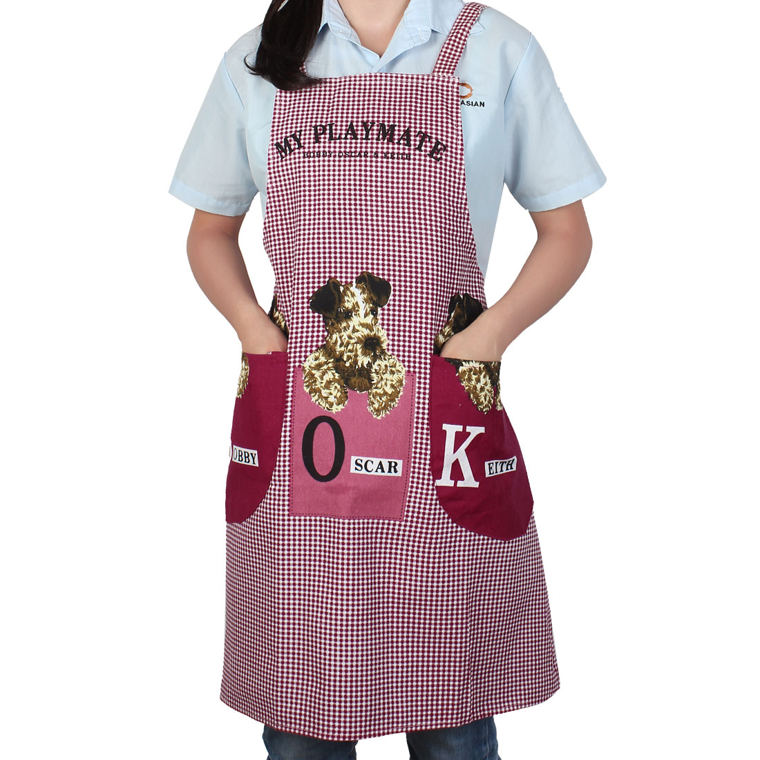 Adult Restaurant Home Kitchen Cute Dog Pattern Cooking Canvas Apron Bib w Pocket
