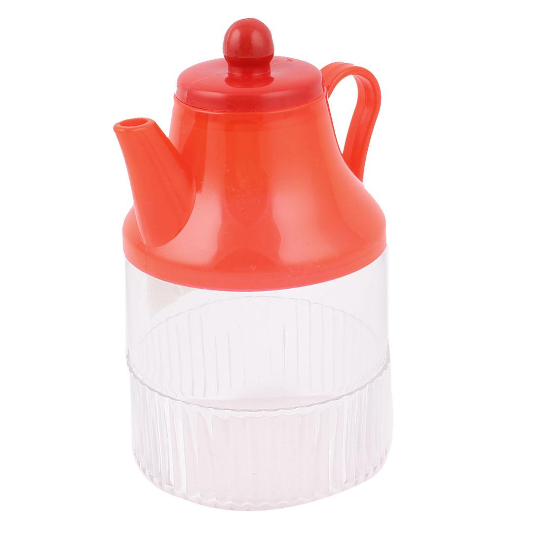 Kitchenware Red Clear Plastic Oil Flavoring Cruet Bottle Holder 400ml