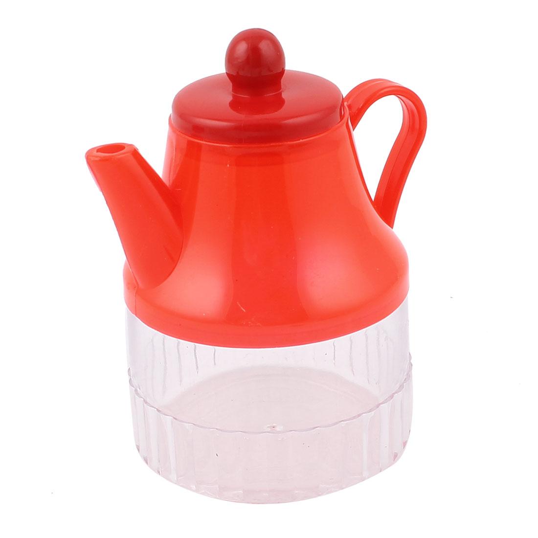 Kitchenware Red Clear Plastic Oil Flavoring Cruet Bottle Holder 300ml