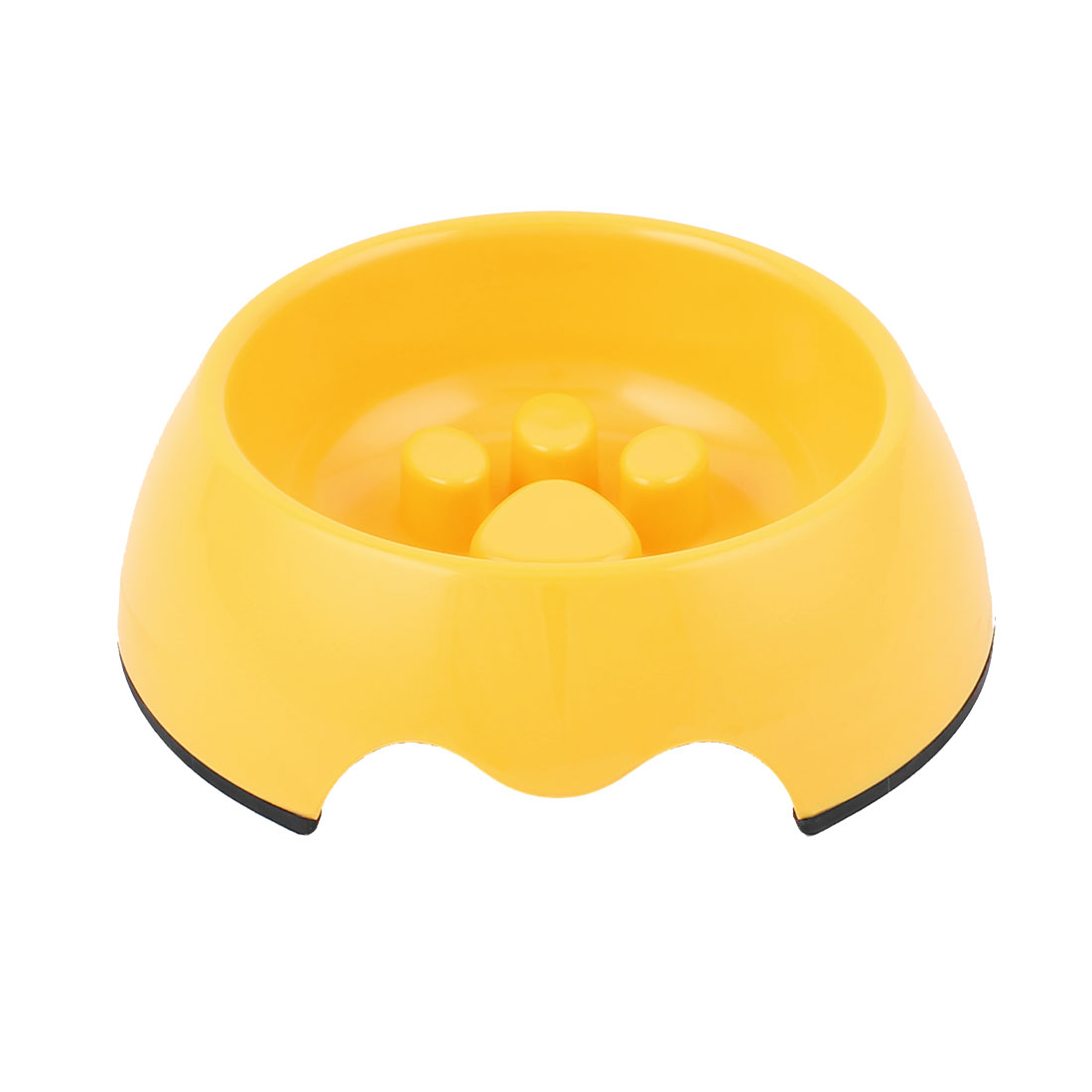 Plastic Pet Dog Puppy Stop Fast Slow Eating Bloat Food Feeder Bowl Yellow