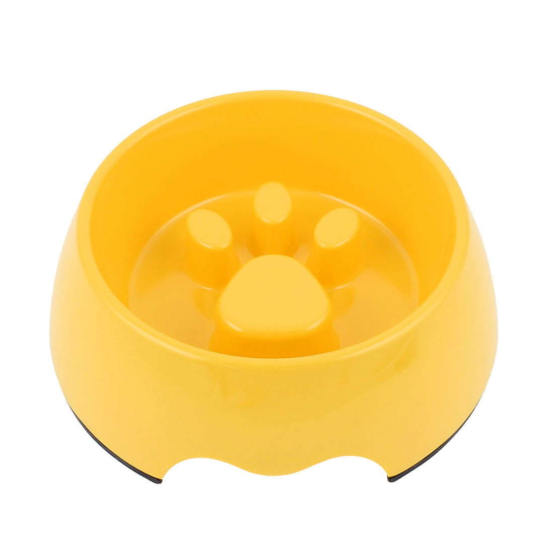 Plastic Pet Cat Puppy Stop Fast Slow Eating Bloat Dish Feeder Bowl Yellow