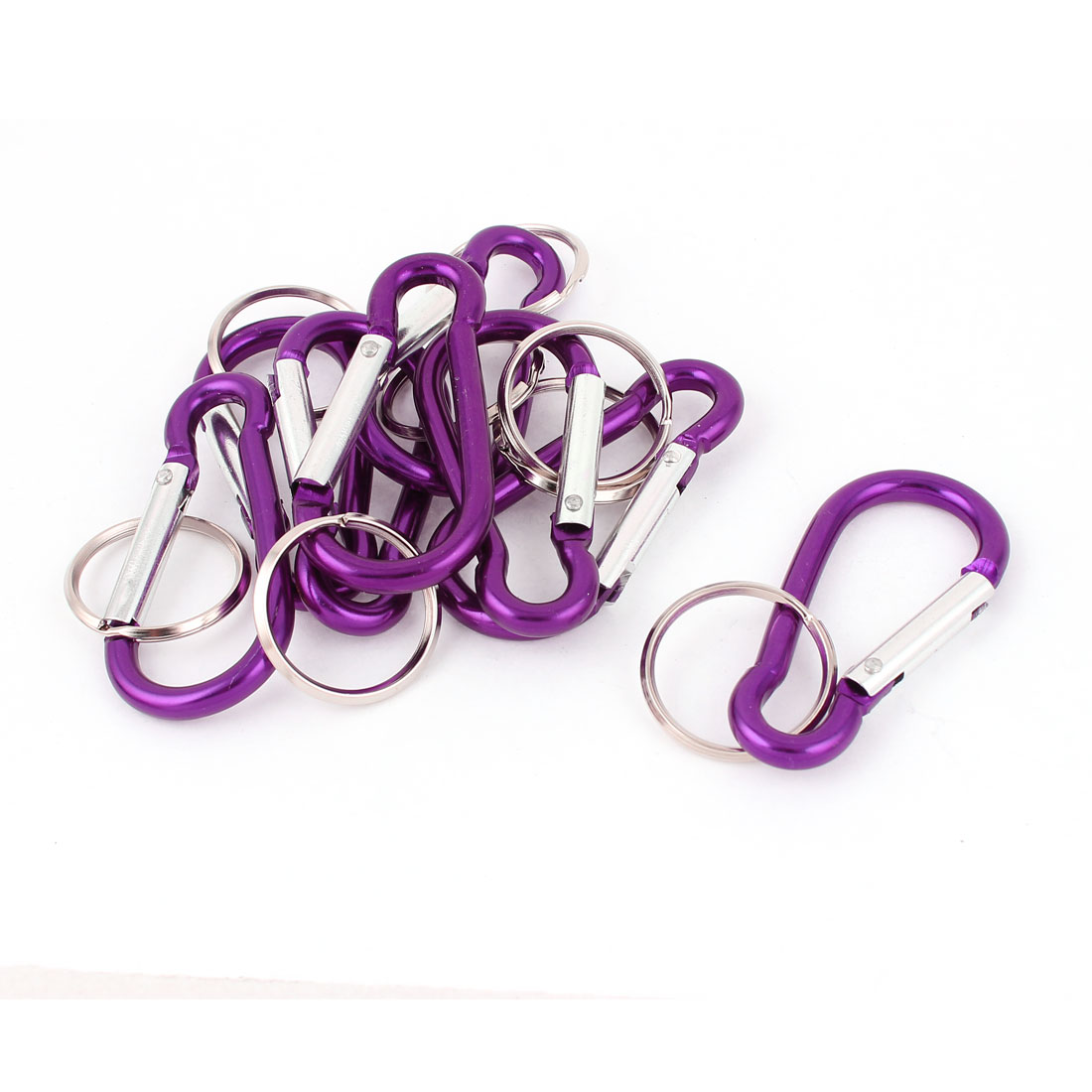 8pcs Purple Metal Carabiner Clips Spring Belt Snap Key Chain Ring Keychain Camping Hook