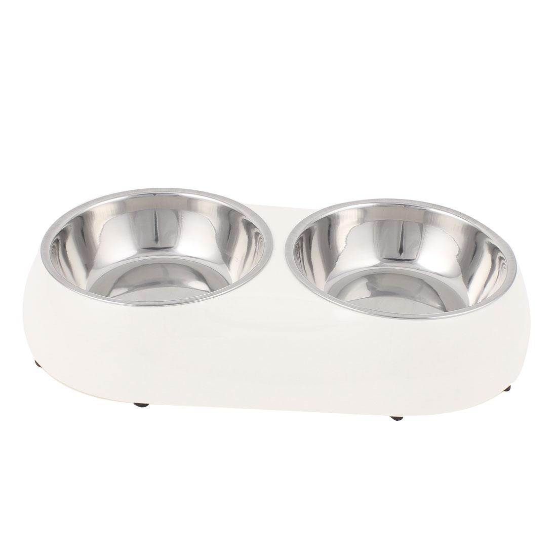 Pet Dog Puppy Plastic Dish Food Water Feeding Feeder Double Bowl White