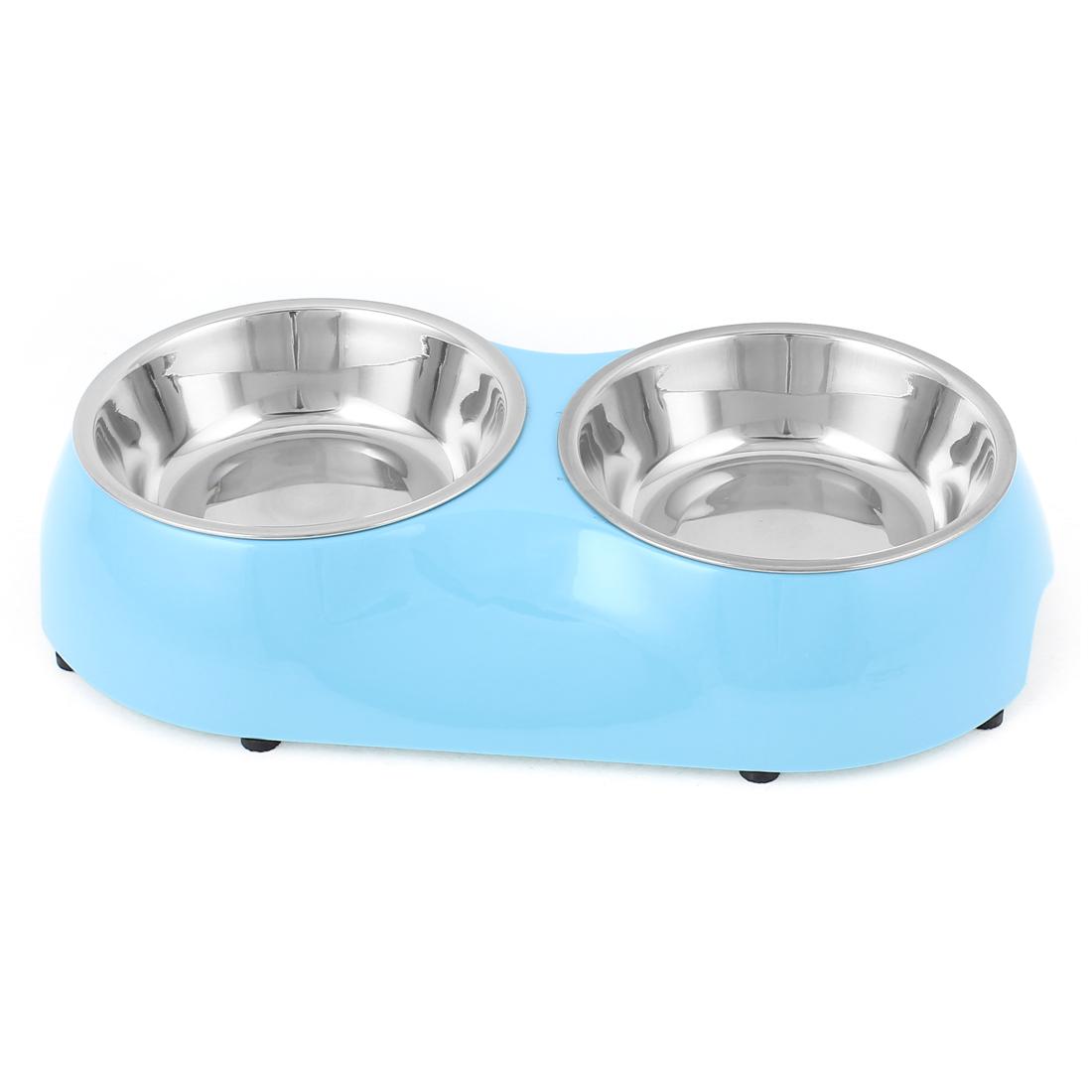Pet Dog Puppy Plastic Dish Food Water Feeding Feeder Double Bowl Blue