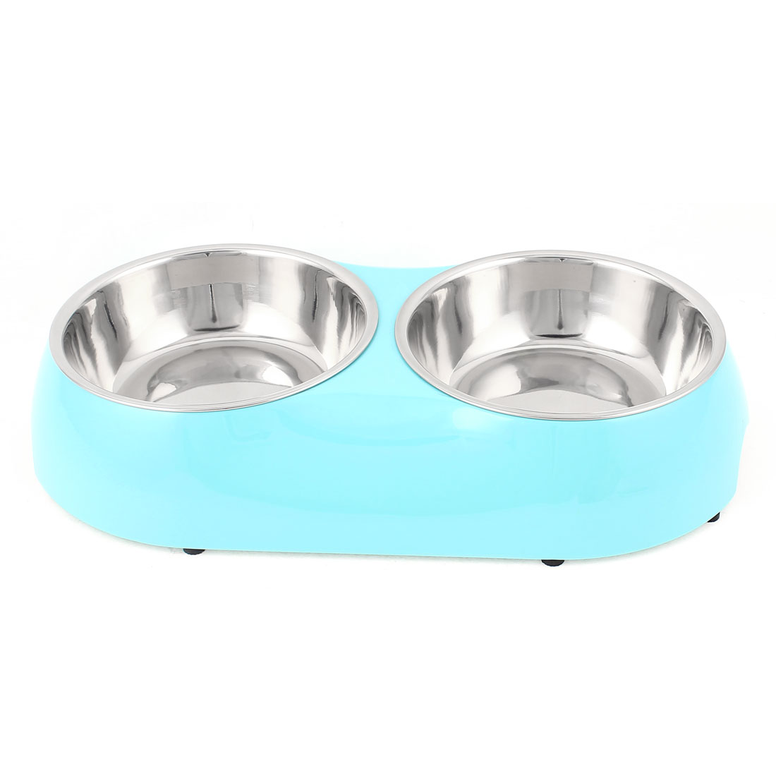 Pet Cat Dog Plastic Dish Food Water Feeding Feeder Double Bowl Blue