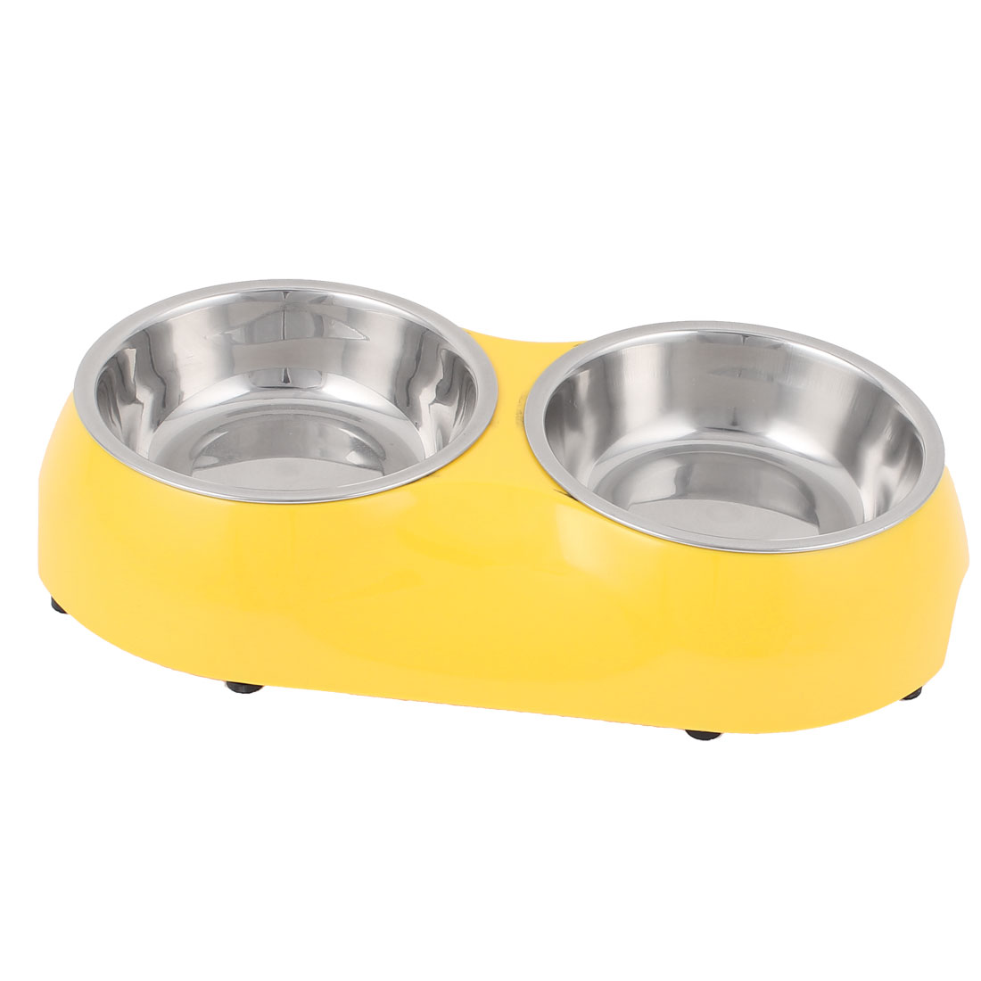 Pet Dog Puppy Plastic Dish Food Water Feeding Feeder Double Bowl Yellow