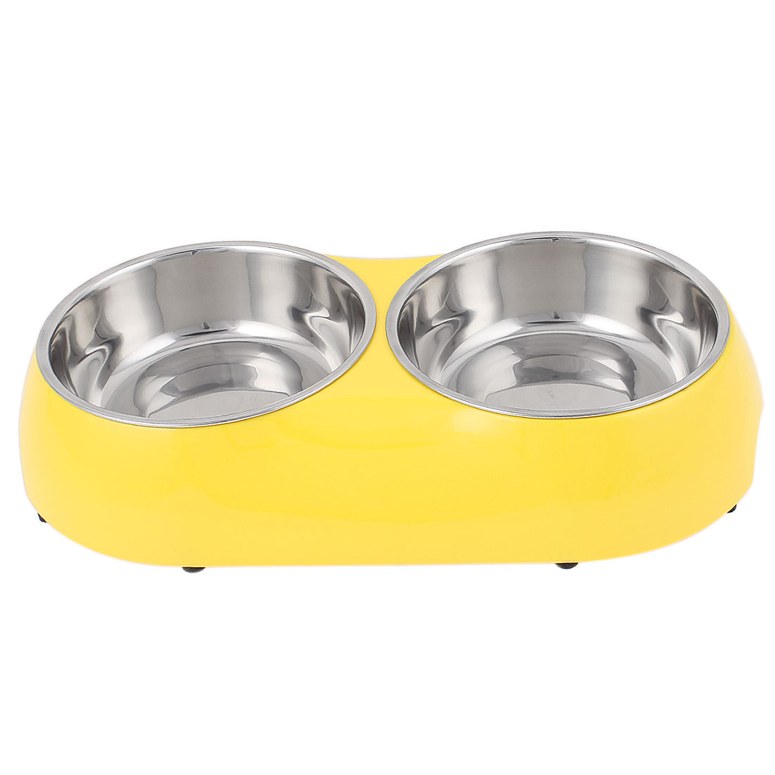 Pet Cat Dog Plastic Dish Food Water Feeding Feeder Double Bowl Yellow