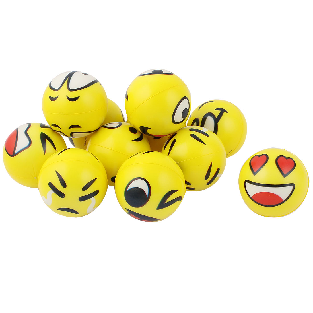 11pcs Yellow Foam Happy Face Hand Wrist Finger Exercise Stress Relief Therapy Squeeze Ball
