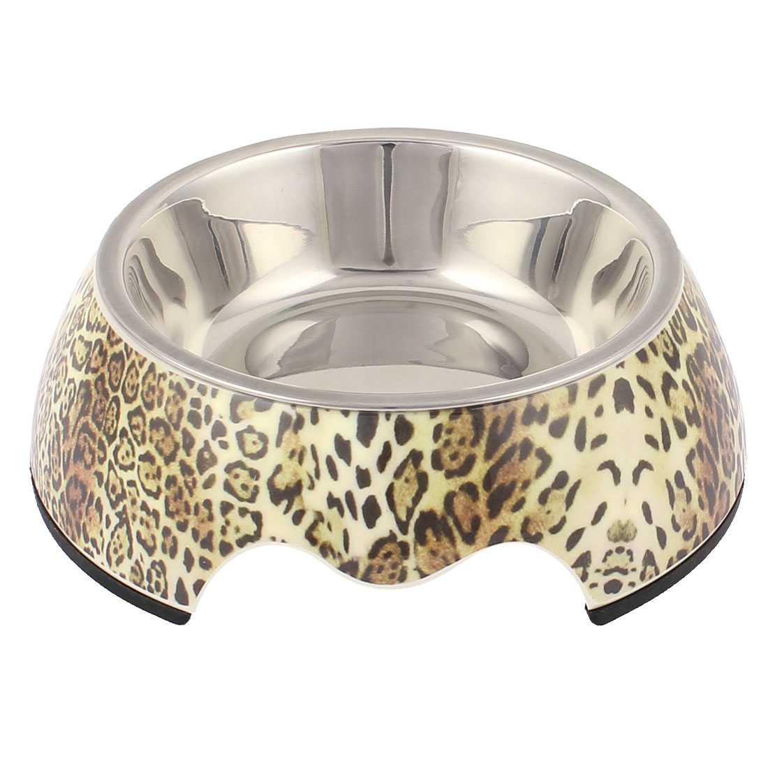 Pet Cat Puppy Plastic Leopard Pattern Dish Food Water Feeding Feeder Bowl