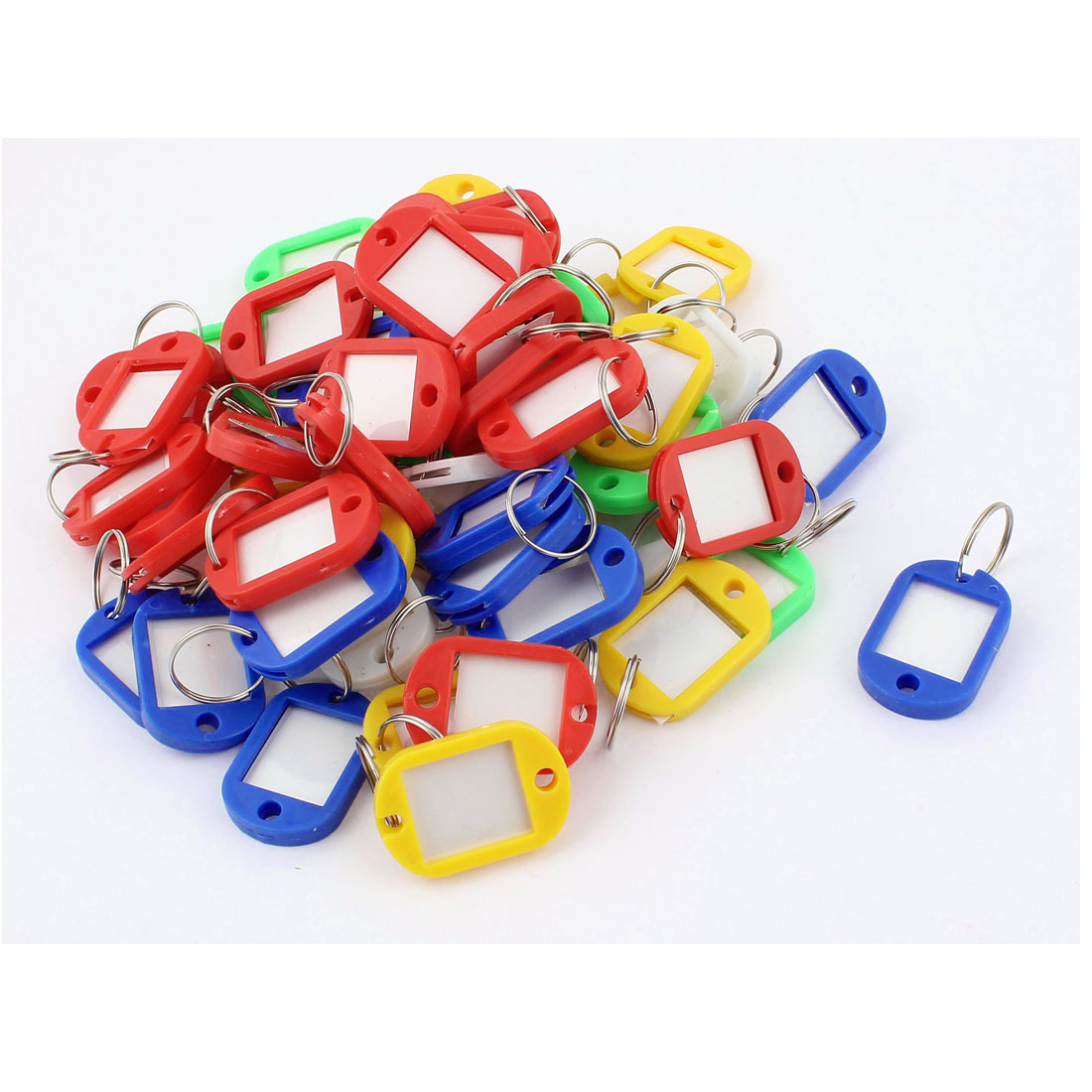 60pcs Assorted Color Plastic Oval Design Key Fobs Luggage Room ID Label Name Tag w Split Ring Keyring