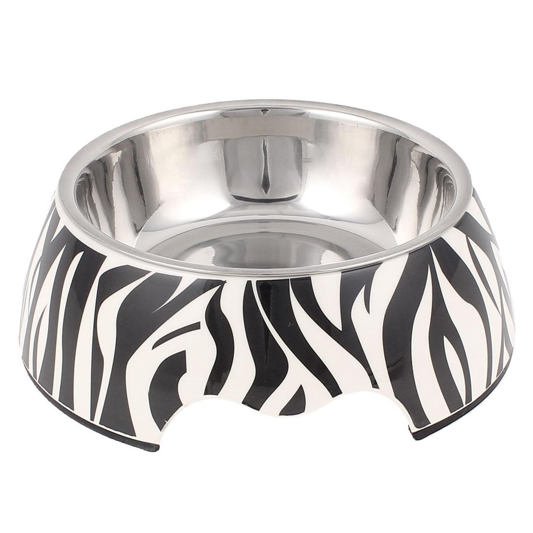 Pet Cat Doggie Plastic Zebra Pattern Dish Food Water Feeding Feeder Bowl