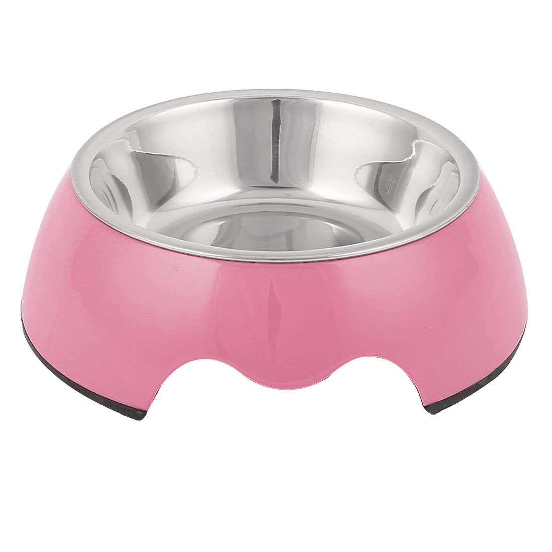 Pet Cat Dog Doggie Stainless Steel Dish Food Water Feeding Feeder Bowl Pink