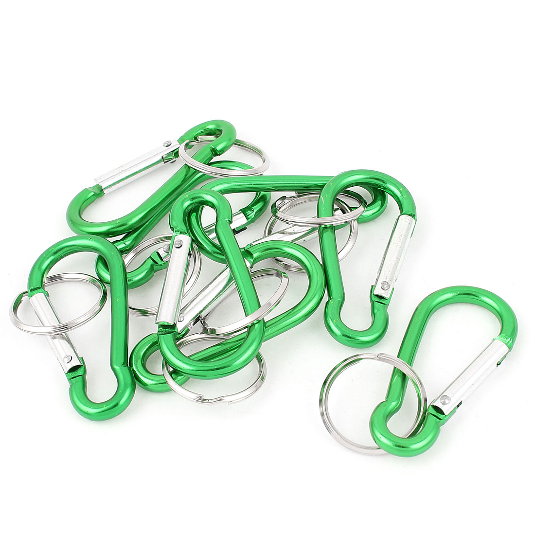 8pcs Green Metal Carabiner Clips Spring Belt Snap Key Chain Ring Keychain Camping Hook