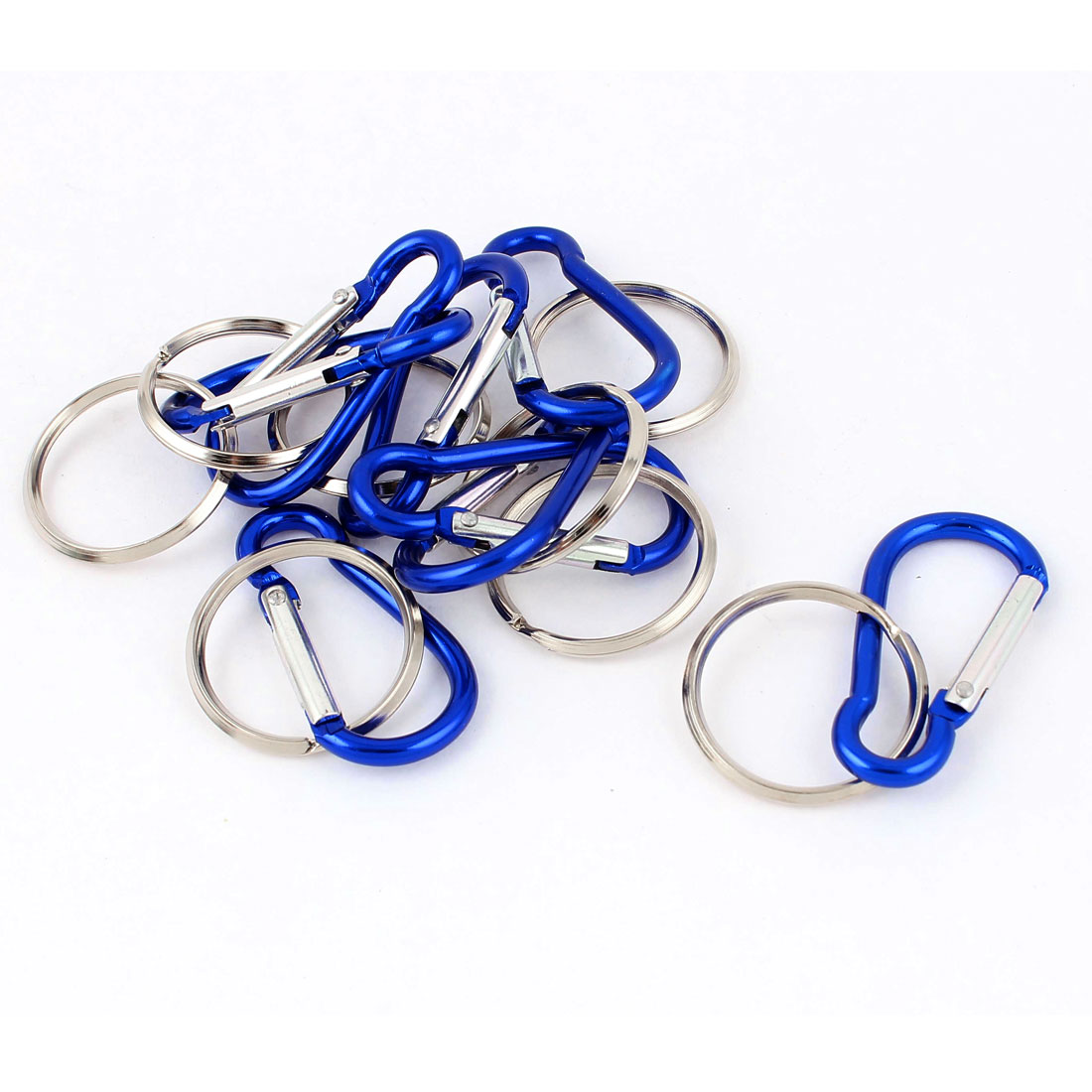 Camping Hiking Spring Ring Carabiner Clip Hook Keychain Keyring Key Chain Carrier 8pcs Blue
