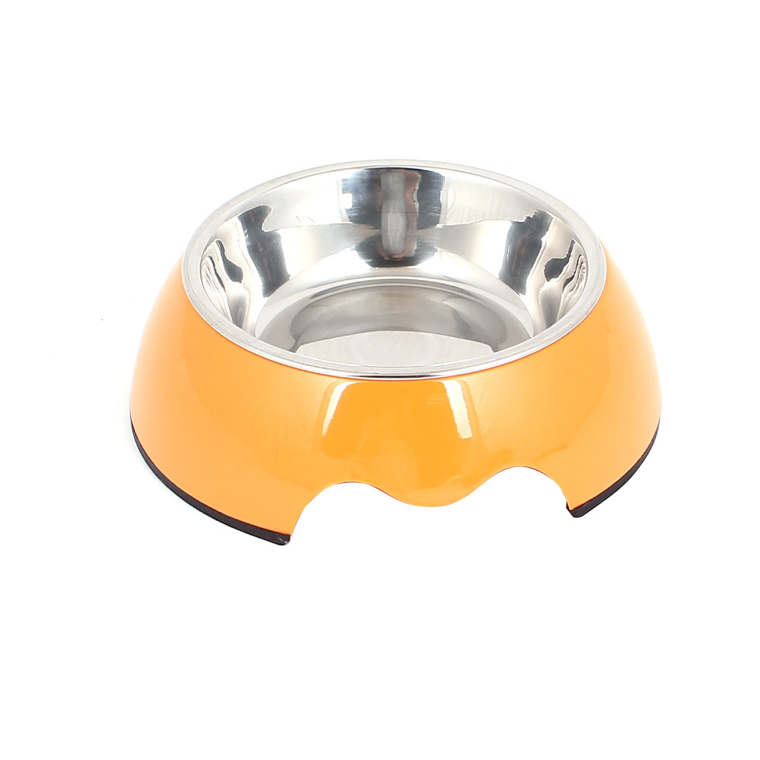 Pet Cat Dog Doggie Stainless Steel Dish Food Water Feeding Feeder Bowl Orange