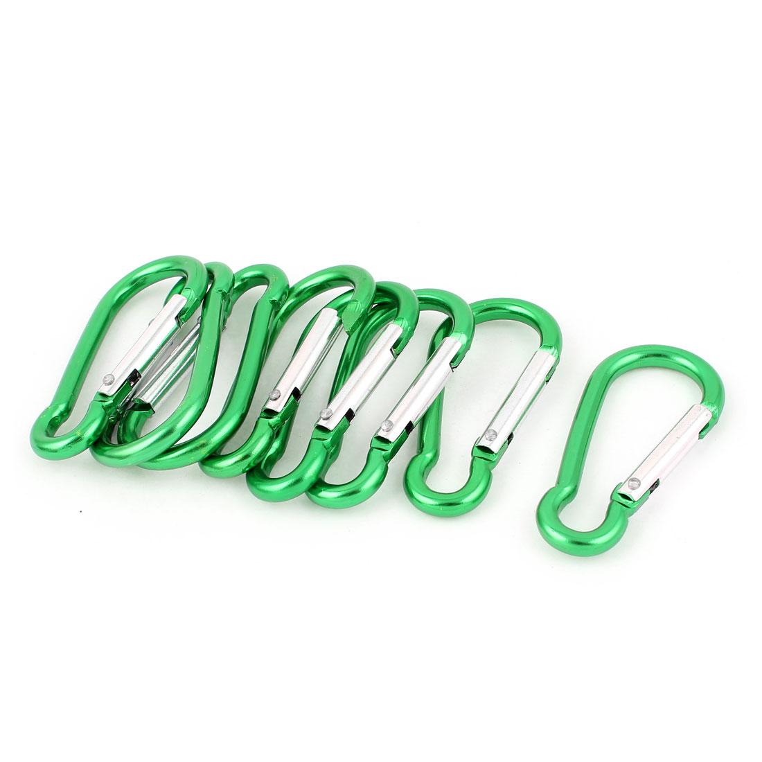 Cycling Hiking Spring Clip Snap Carabiner Hook Keychain Karabiner Bottle Holder 8pcs Green