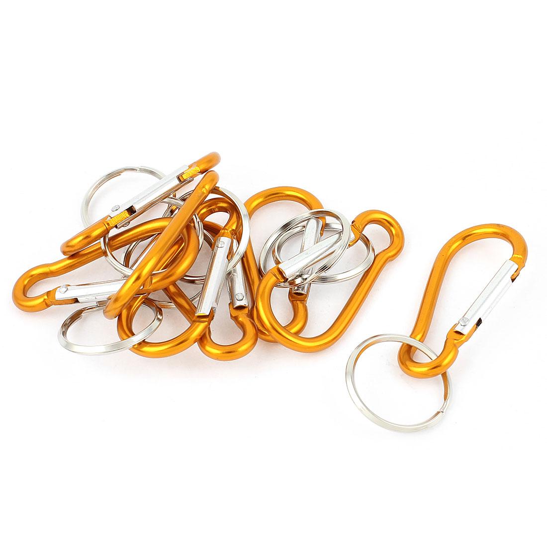 8pcs Orange Metal Carabiner Hike Clip Spring Hook Key Chain Fob Keyring Keychain