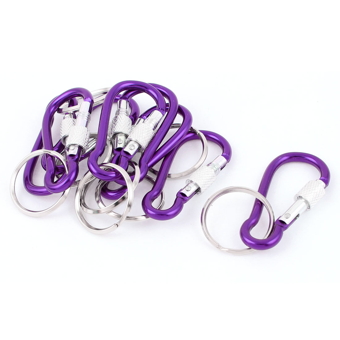 8pcs Purple Screw Lock Carabiner D-Ring Camping Clip Hike Hook Keychain Keyring Key Ring Chain