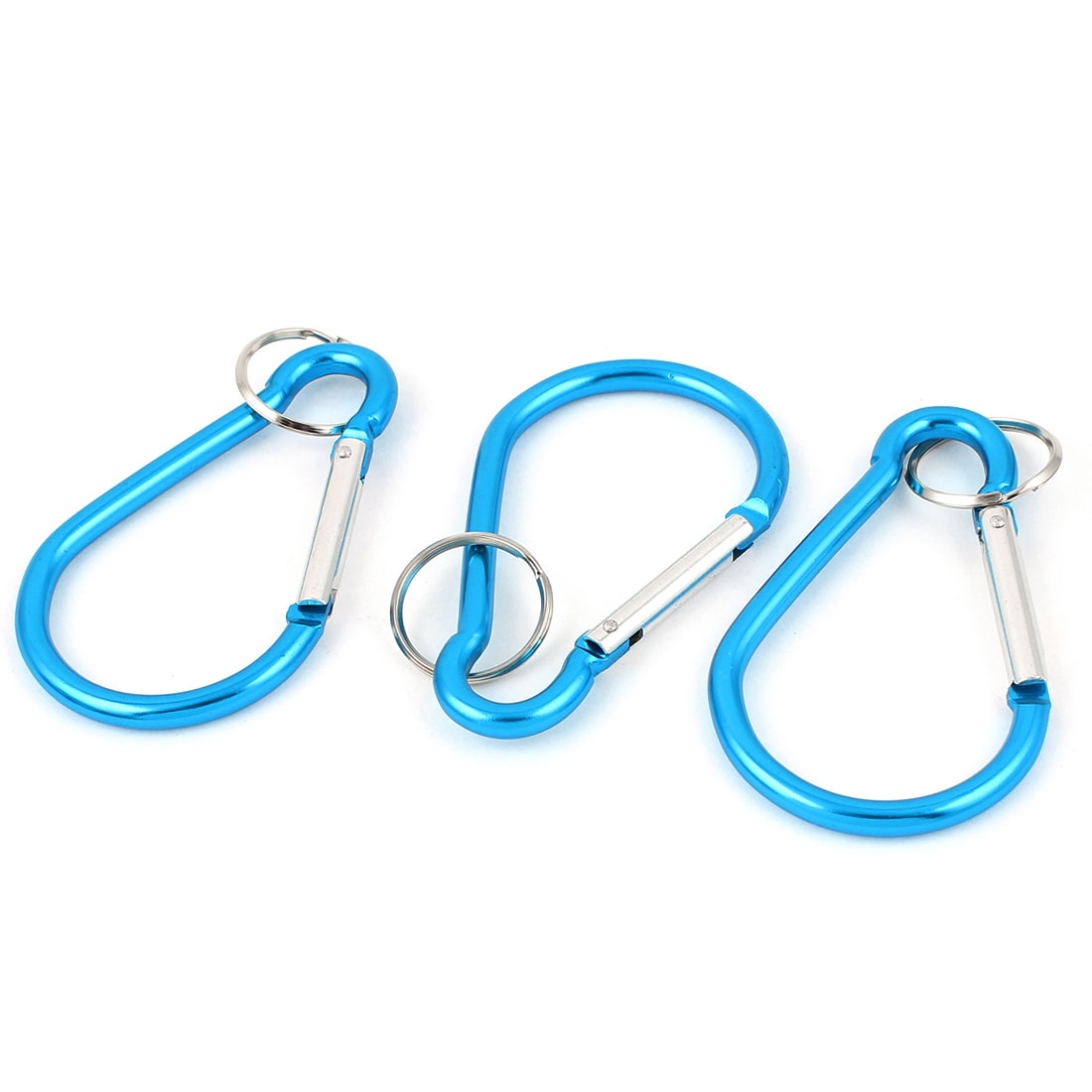 Outdoor Camping Metal Carabiner Spring Loaded Clips Hike Hook Key Chain 3pcs Blue