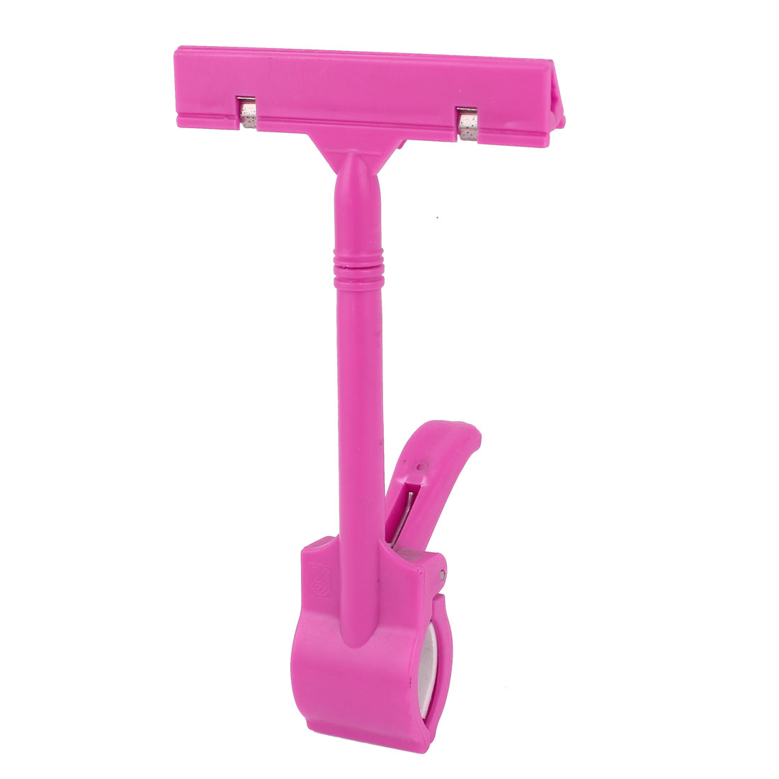 Retail Store Shop Plastic Dual End Rotatable Advertising Clip On Pop Sign Price Card Ticket Clamp Holder Fuchsia