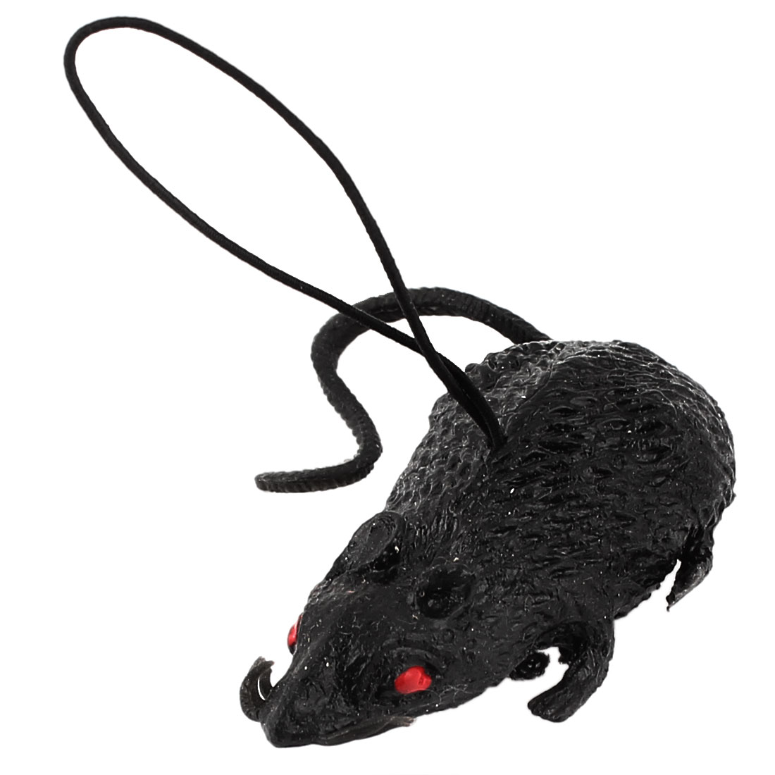 Black Rubber Artificial Mouse Pendant Cel Phone MP3 MP4 Strap String Charm Hanging Ornament