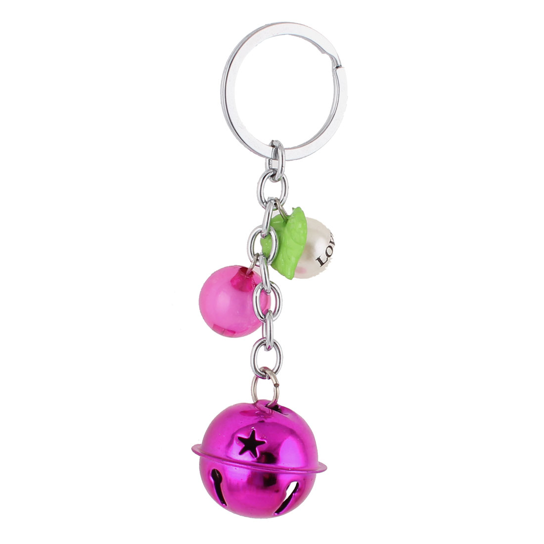 Bells Beads Detail Split Ring Keyring Keychain Key Holder Bag Purse Decor Fuchsia White