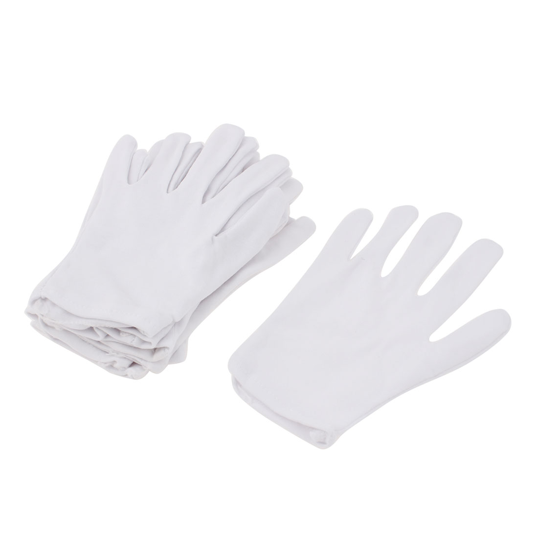 5 Pairs White Nylon Protective Full Fingers Stretchy Labor Working Work Gloves