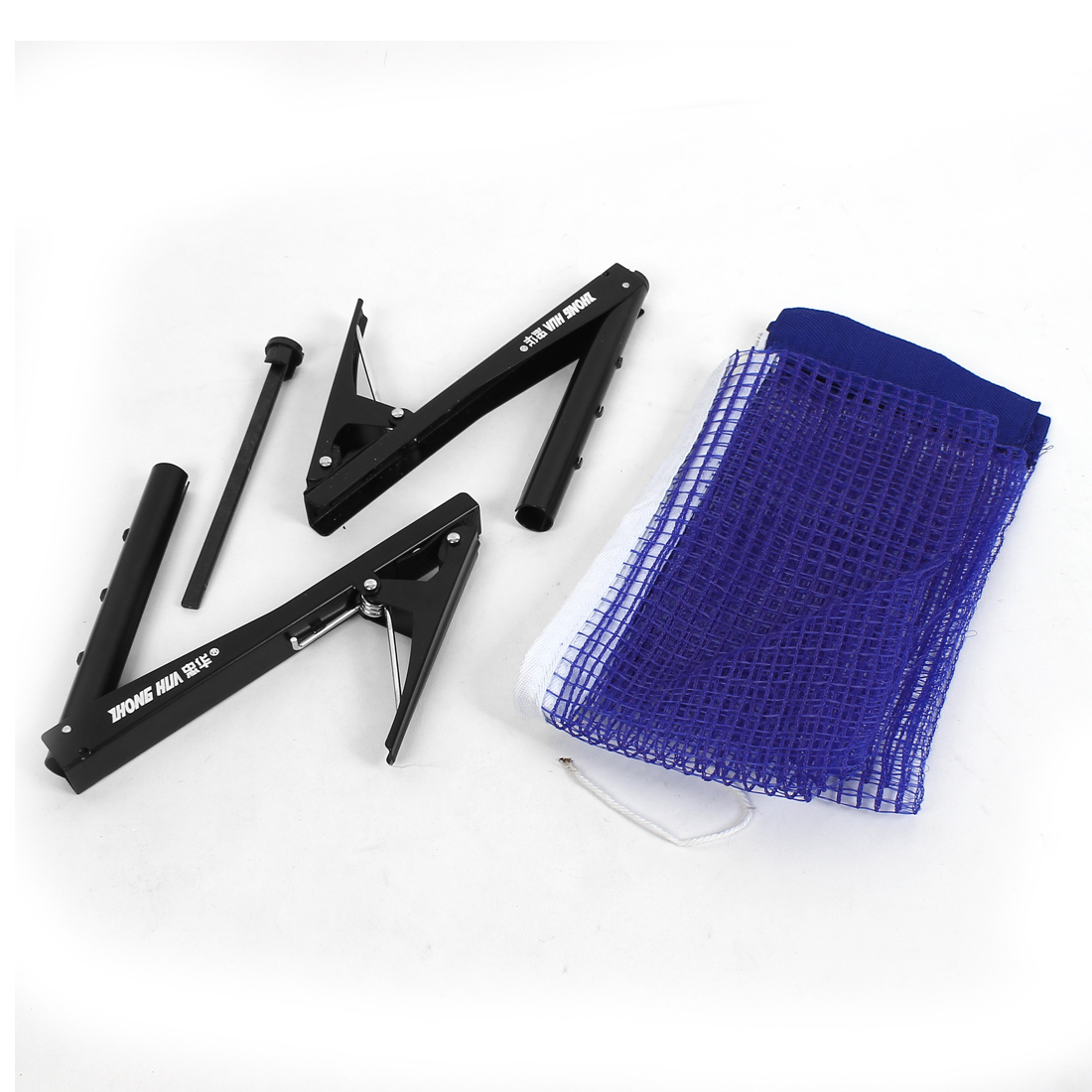 Table Tennis Nylon Net w Post Clamp Stand Set Ping Pong Replacement Mesh Standing