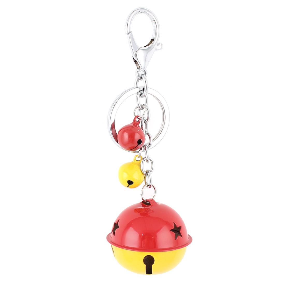 Metal Bells Pendant Lobster Clasp Split Ring Keyring Keychain Key Chain Bag Purse Ornament Yellow Red